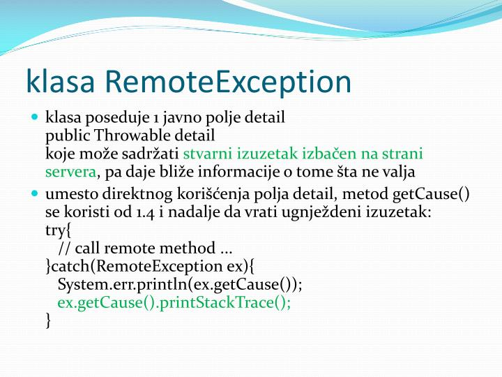 klasa RemoteException