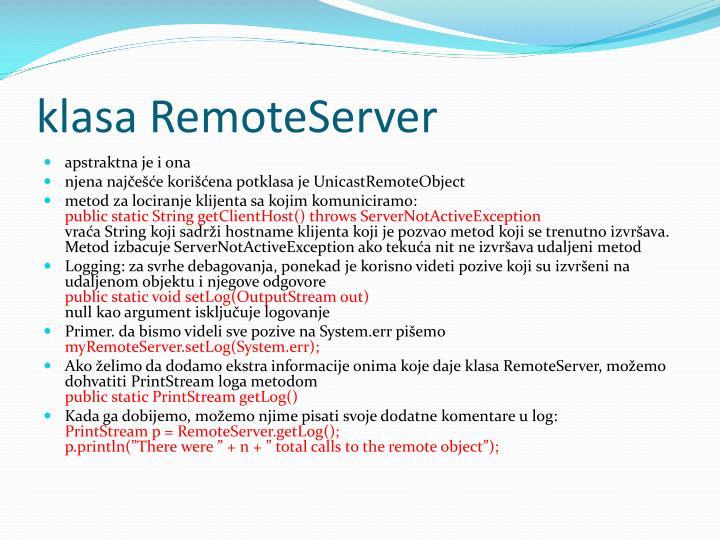 klasa RemoteServer