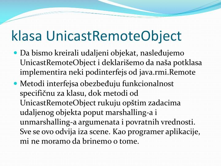 klasa UnicastRemoteObject