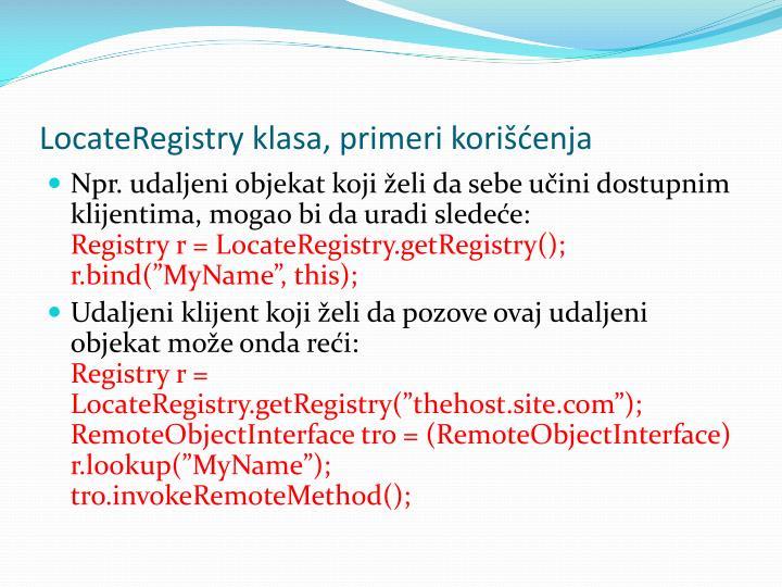 LocateRegistry klasa, primeri korienja