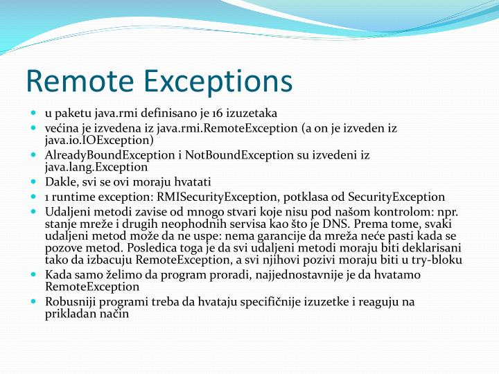 Remote Exceptions