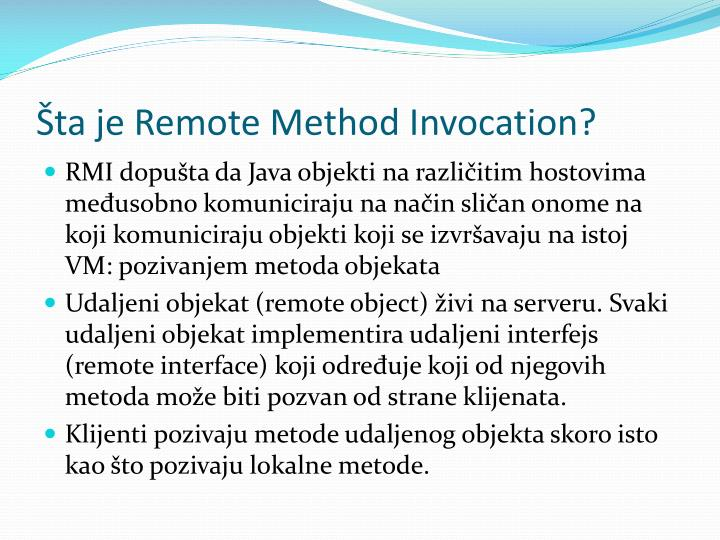 ta je Remote Method Invocation?
