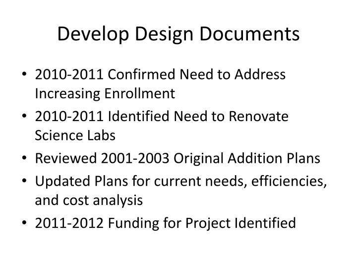 Develop Design Documents