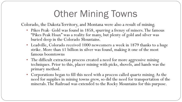 Other Mining Towns