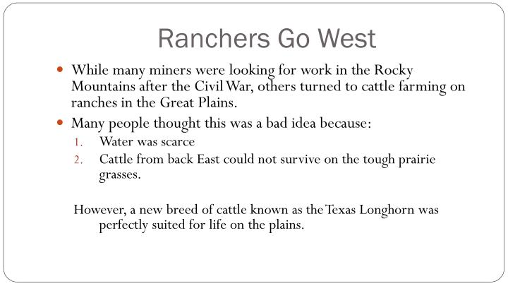 Ranchers Go West