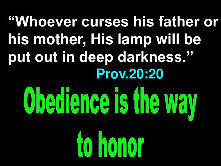 """""""Whoever curses his father or his mother, His lamp will be put out in deep darkness."""""""