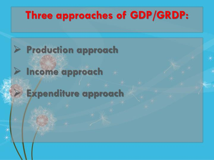 Three approaches of GDP/GRDP: