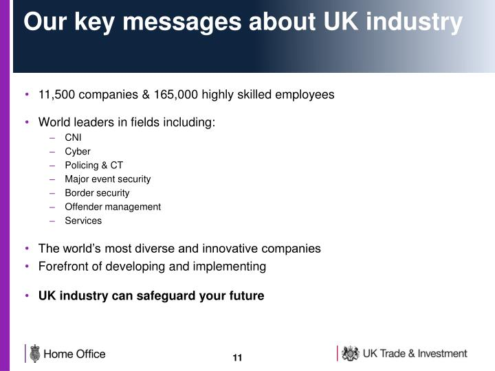 Our key messages about UK industry