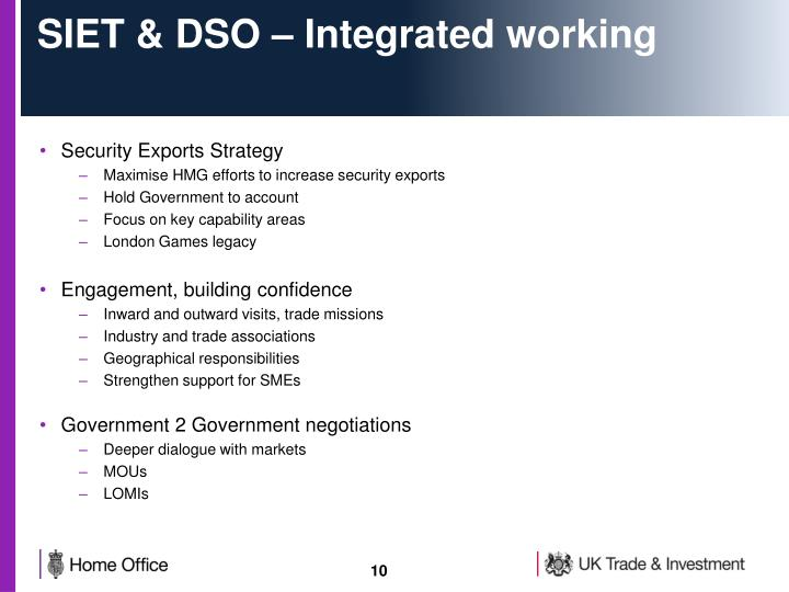 SIET & DSO – Integrated working