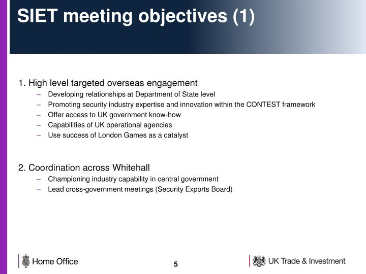 SIET meeting objectives (1)