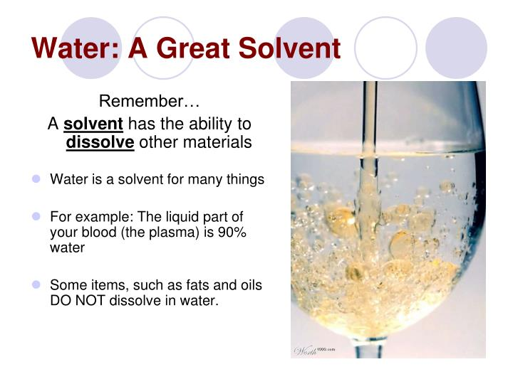 Water: A Great Solvent