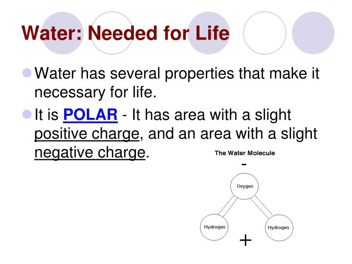 Water: Needed for Life