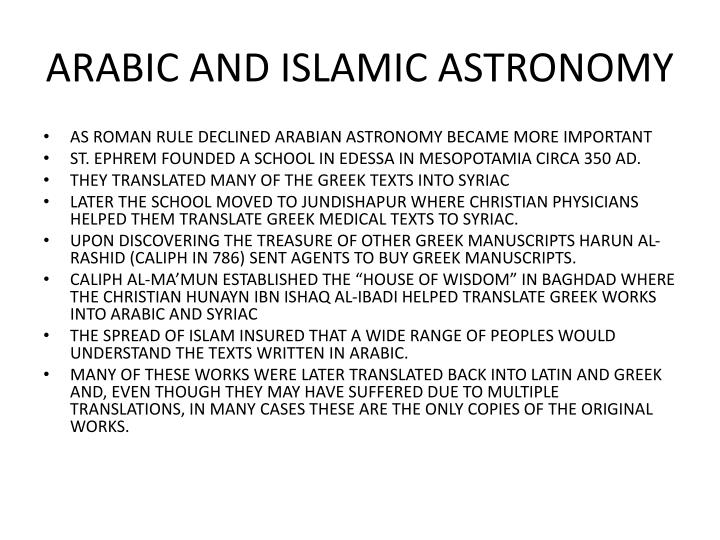 ARABIC AND ISLAMIC ASTRONOMY