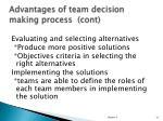 advantages of team decision making process cont1