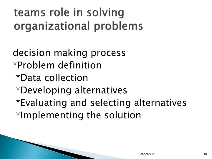 teams role in solving organizational problems