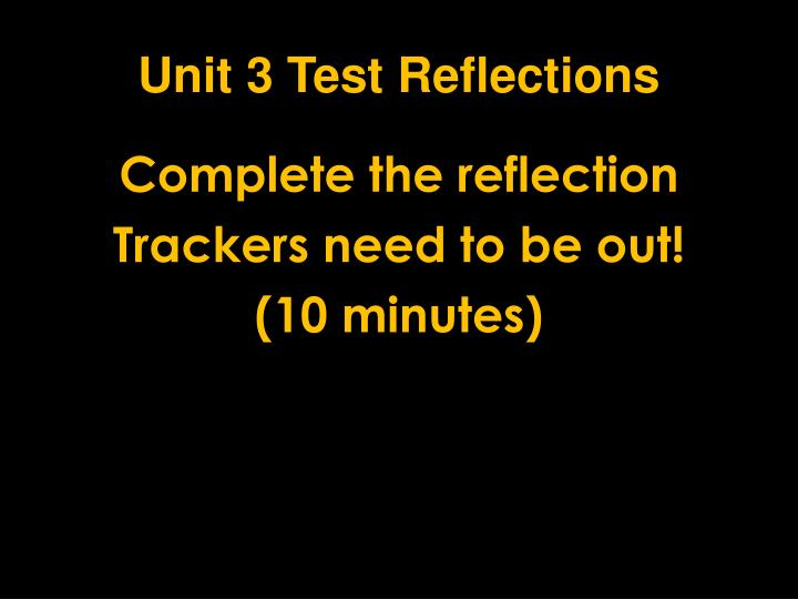 Unit 3 Test Reflections