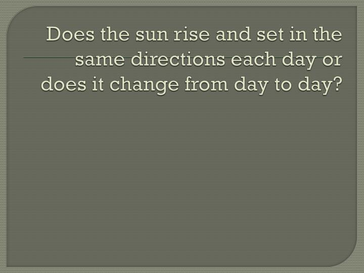 Does the sun rise and set in the same directions each day or does it change from day to day?