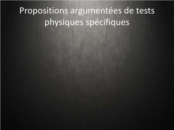 Propositions argumentées de tests physiques spécifiques