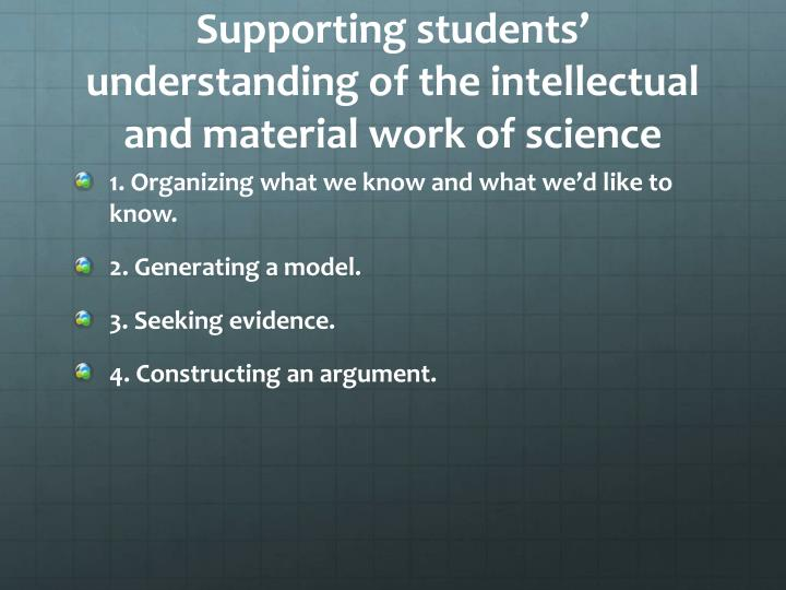 Supporting students understanding of the intellectual and material work of science