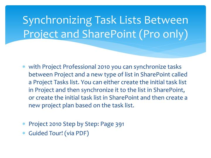 Synchronizing Task Lists Between Project and SharePoint