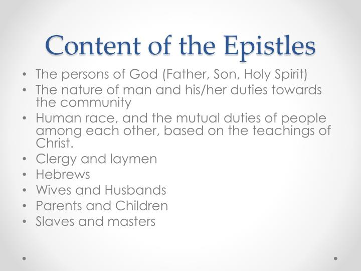 Content of the Epistles