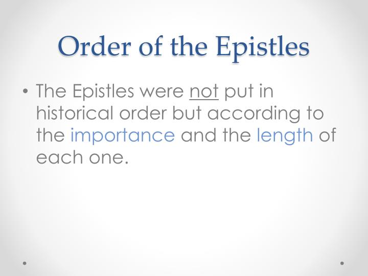 Order of the Epistles