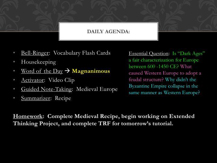 Daily Agenda: