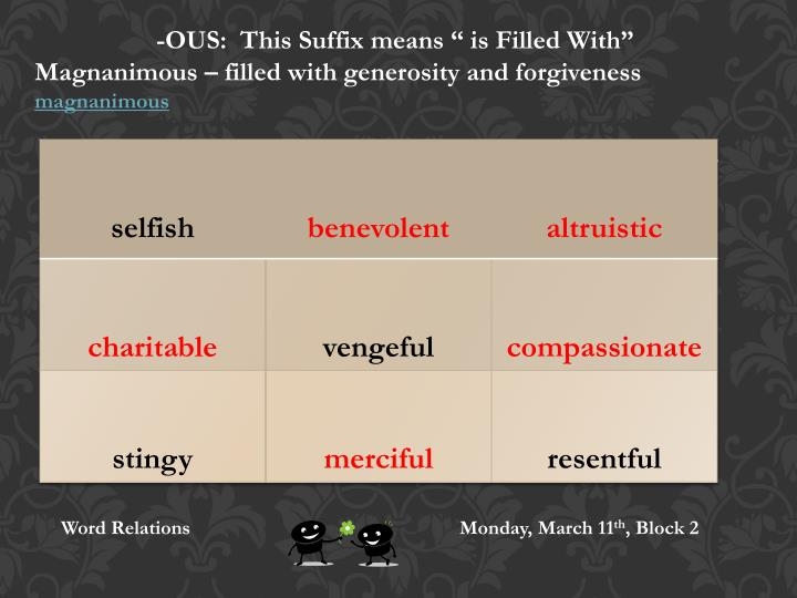 "-OUS:  This Suffix means "" is Filled With"""