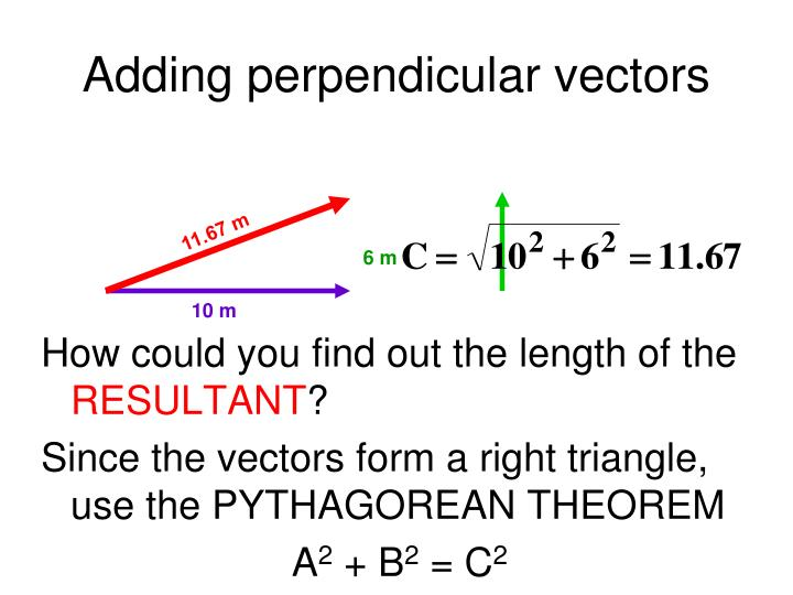 Adding perpendicular vectors