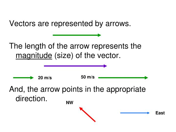 Vectors are represented by arrows.