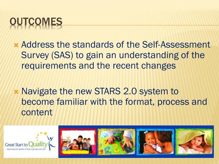 Address the standards of the Self-Assessment Survey (SAS) to gain an understanding of the requirements and the recent changes
