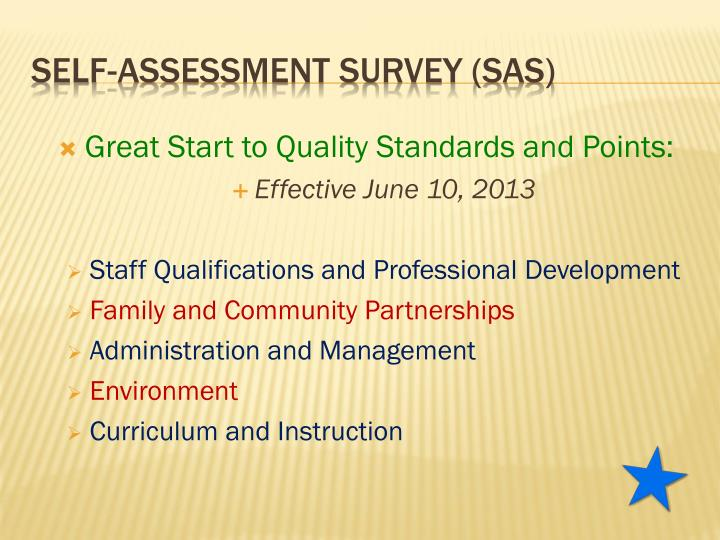 Great Start to Quality Standards and Points:
