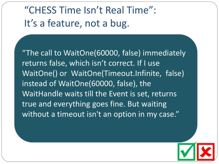 """CHESS Time Isn't Real Time"":"