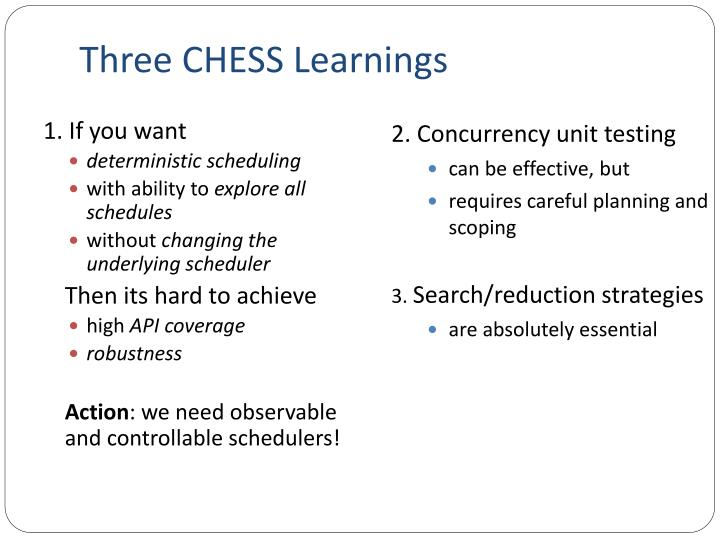 Three CHESS Learnings