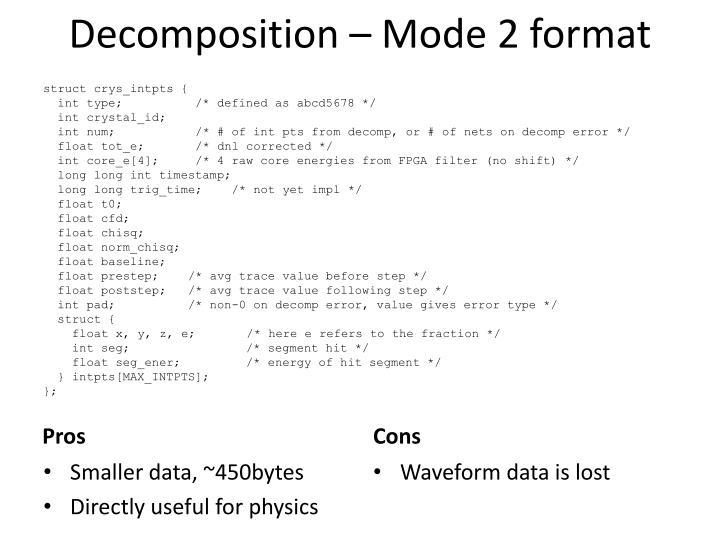 Decomposition – Mode 2 format
