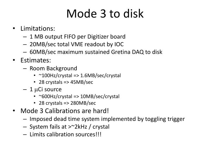 Mode 3 to disk