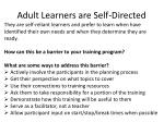 adult learners are self directed