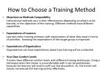 how to choose a training method