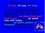 model introduction the bing the bang the bongo