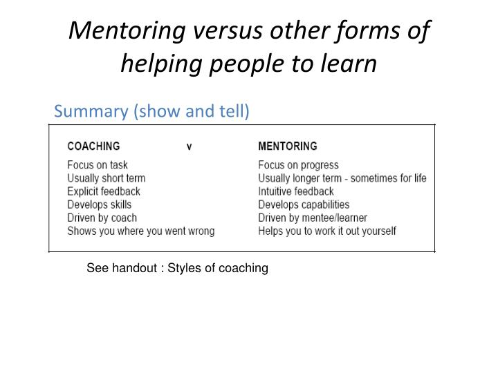 Mentoring versus other forms of helping people to learn