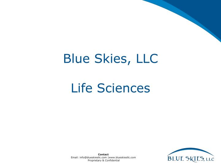 Blue skies llc life sciences