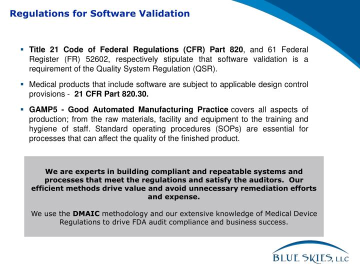 Regulations for Software Validation