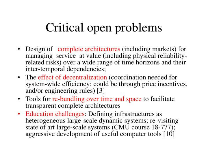 Critical open problems