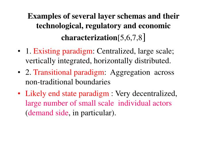 Examples of several layer schemas and their  technological, regulatory and economic characterization