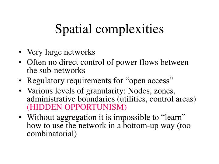 Spatial complexities