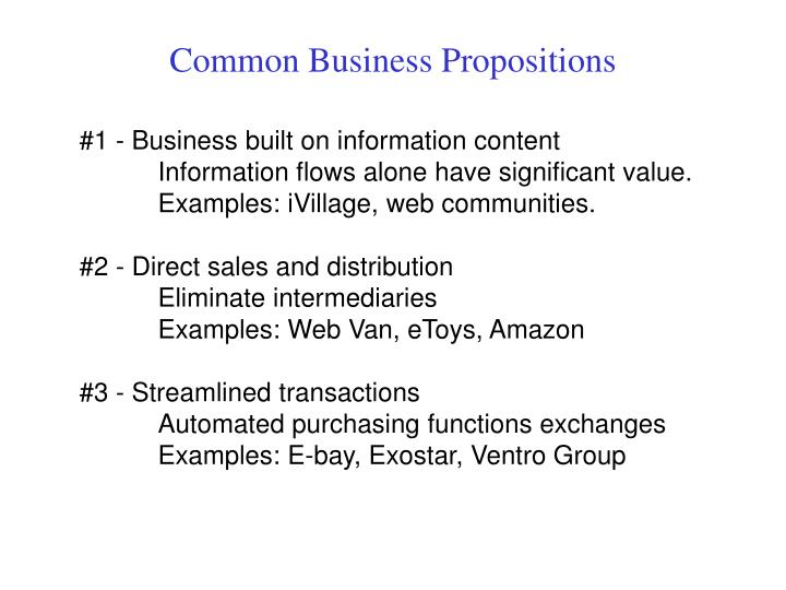 Common Business Propositions