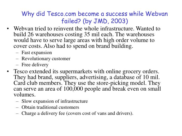 Why did Tesco.com become a success while Webvan failed? (by JMD, 2003)