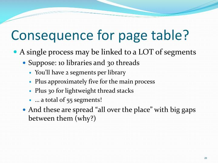 Consequence for page table?