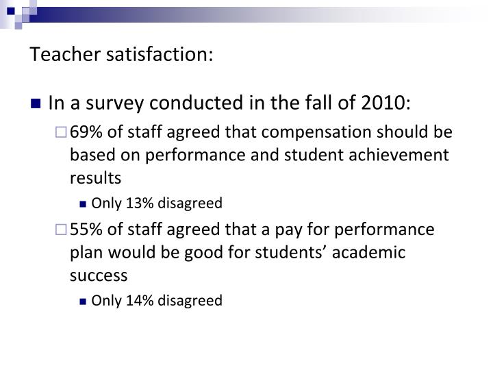 Teacher satisfaction: