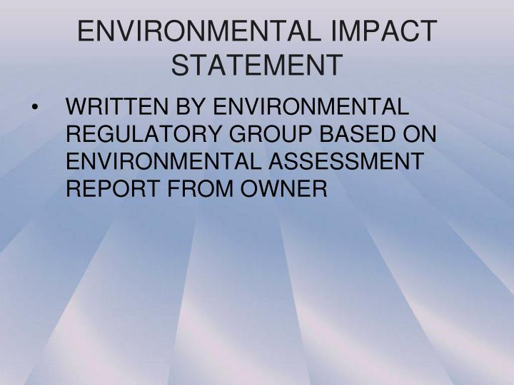 ENVIRONMENTAL IMPACT STATEMENT